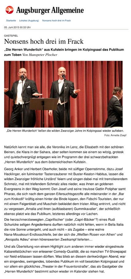 Gastspiel: Nonsens hoch drei im Frack - Nachrichten Augsburg - A