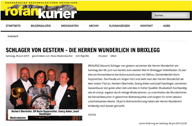(Rofankurier - Unabh344ngige Lokalzeitung Unterland - Schlager